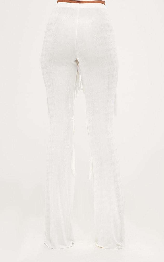 White Slinky Tiered Fringe Flared Trousers 4