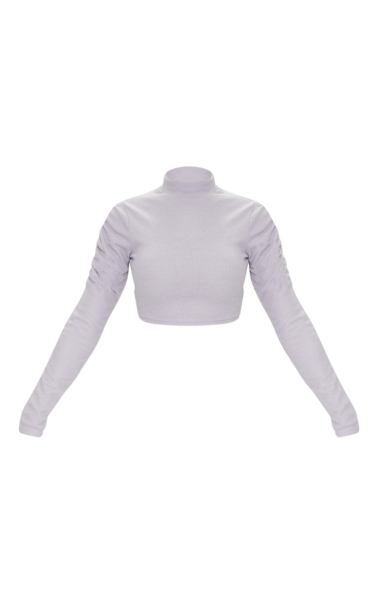 Light Grey Soft Brushed Rib High Neck Ruched Long Sleeve Crop Top 5
