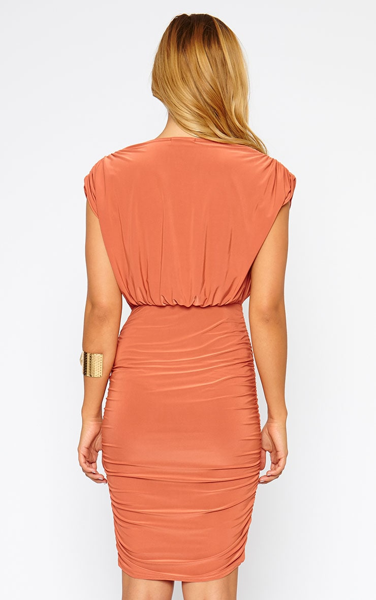 Alia Rust Ruched Detail Wrap Dress 2