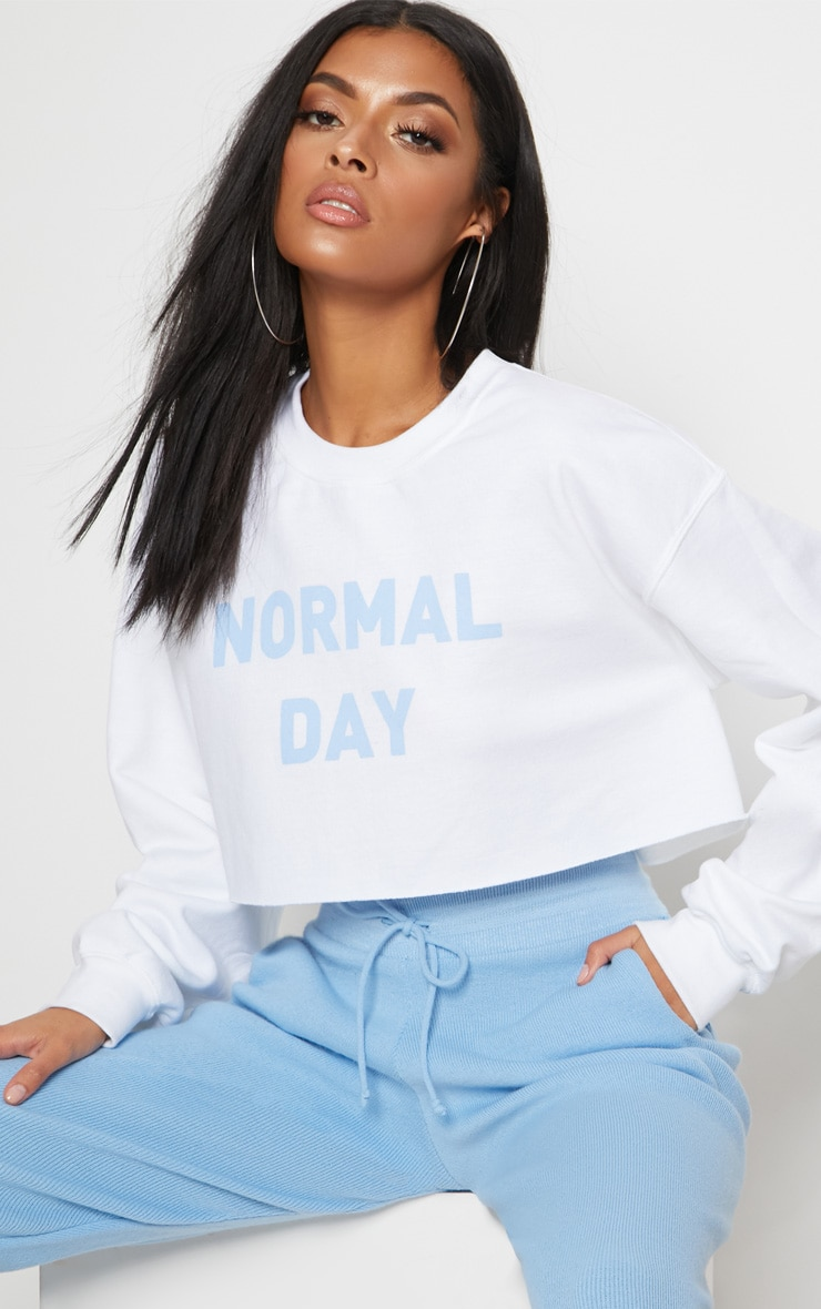 White Normal Day Slogan Crop Sweater 1
