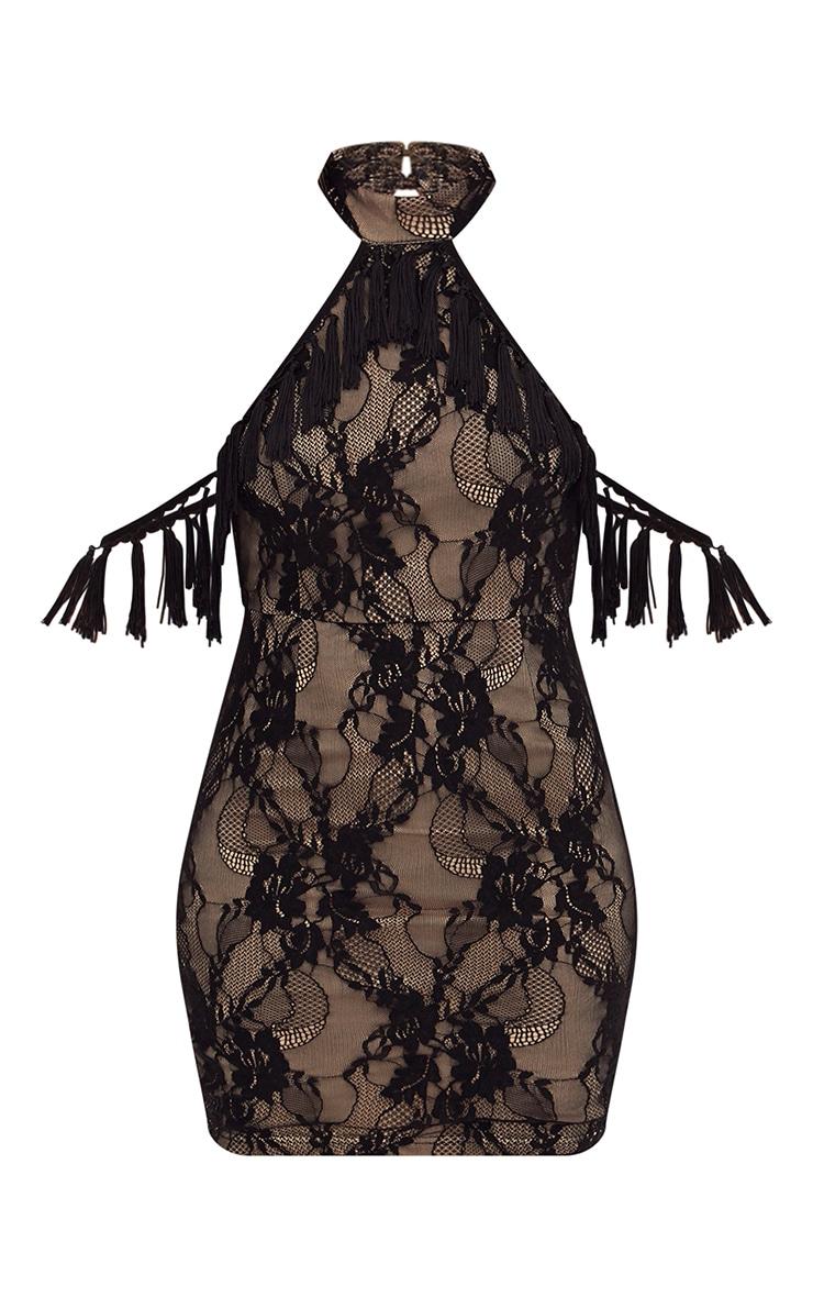Black High Neck Tassel Detail Lace Bodycon Dress 3