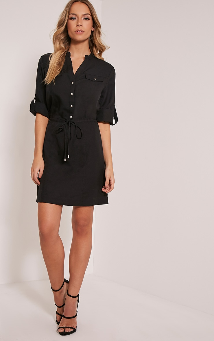 Teeya Black Collarless Shirt Dress 5