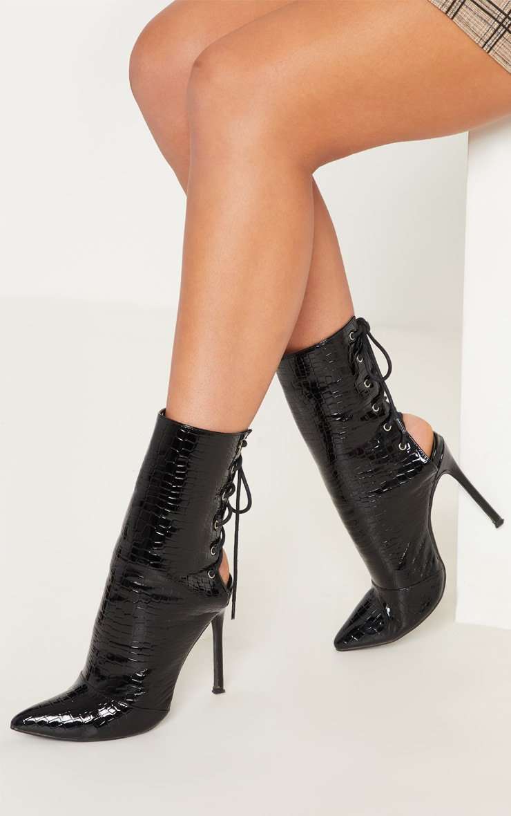 Black Patent Faux Croc Lace Up Back High Boot 1