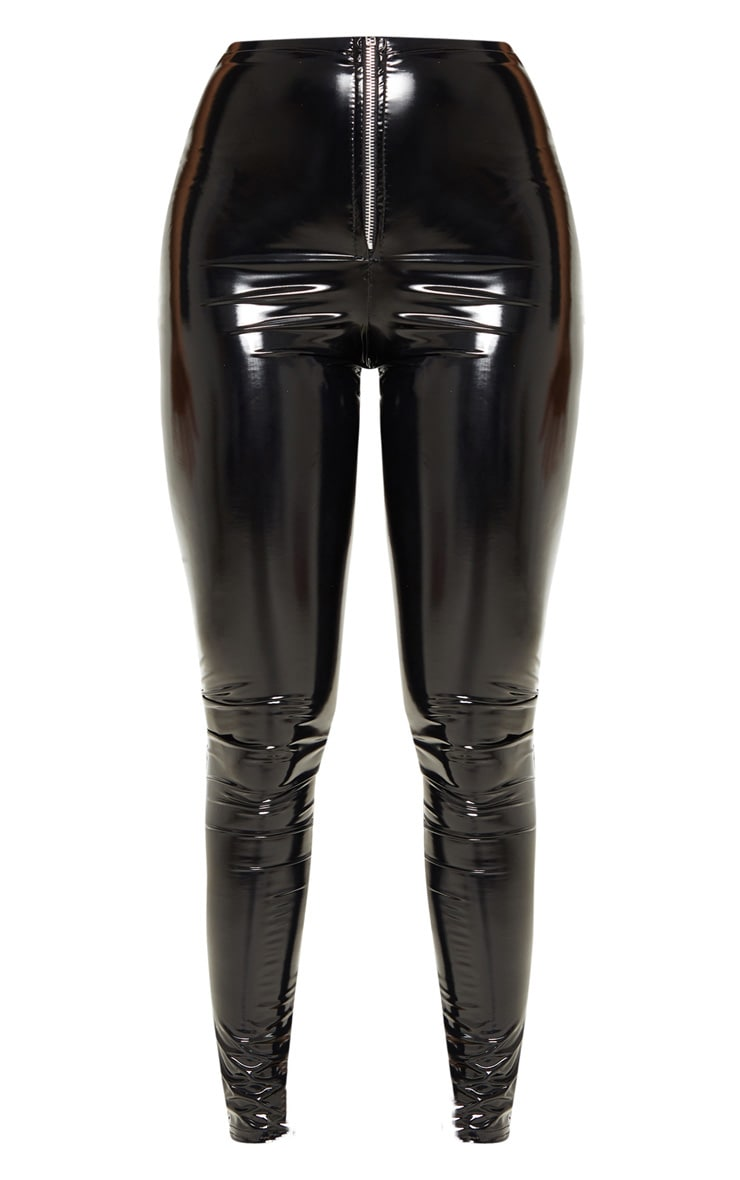 Petite Black Vinyl Zip Detail Trousers 3