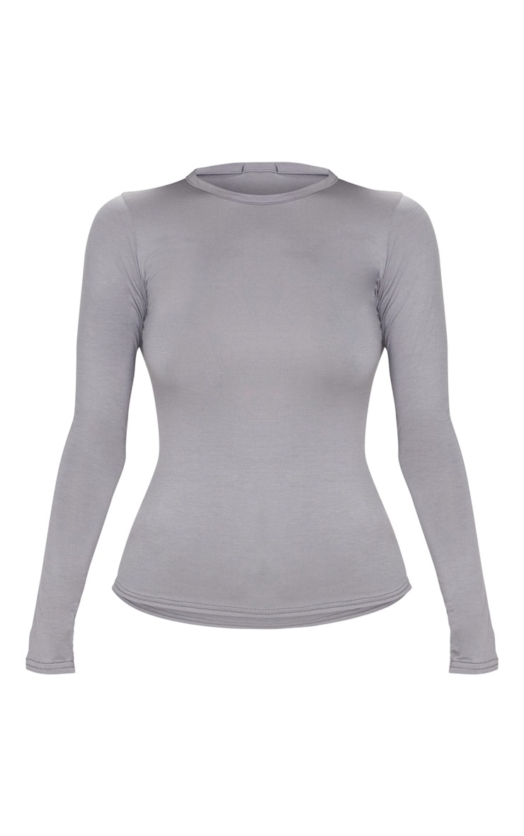 Basic Light Grey Long Sleeve Fitted T Shirt  3