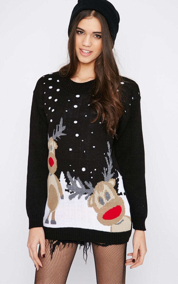 Tarah Black Reindeer Snow Christmas Jumper 1
