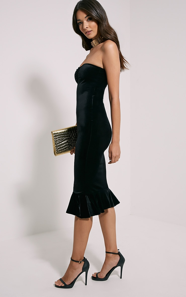 Tawny Black Velvet Bandeau Midi Dress 5