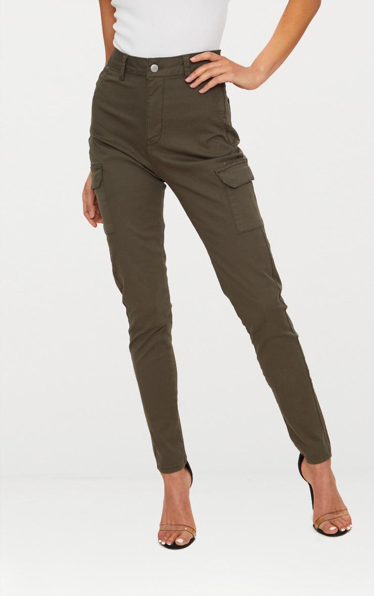 Khaki Pocket Detail Utility Skinny Jean 2