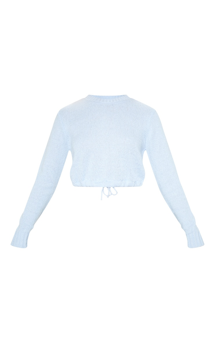 Blue Laguna Ruched Hem Knitted Crop 3