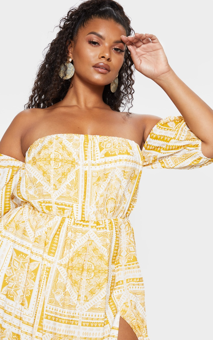 Plus Yellow Paisley Tile Print Bardot Maxi Dress 5