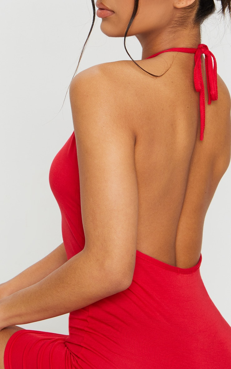 Basic Red Halterneck Bodycon Dress 4