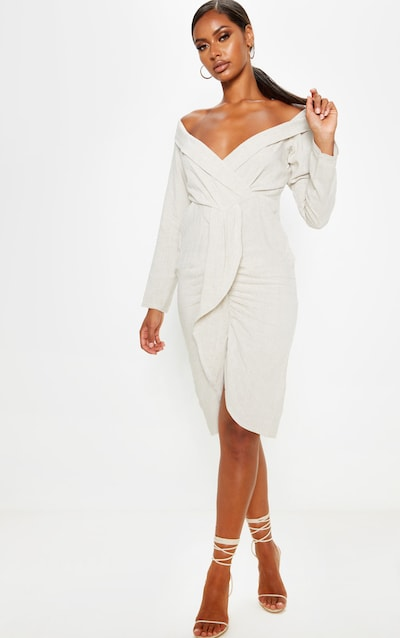 Stone Linen Plunge Frill Detail Long Sleeve Midi Dress