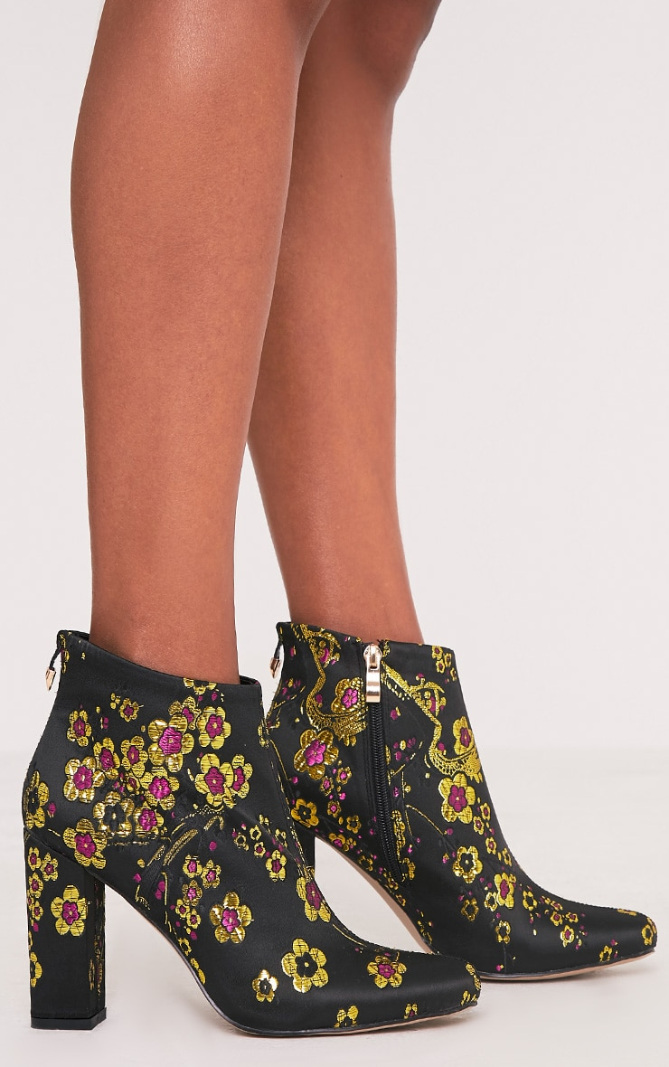 Mel Black Cherry Blossom Embroidered Ankle Boots 3