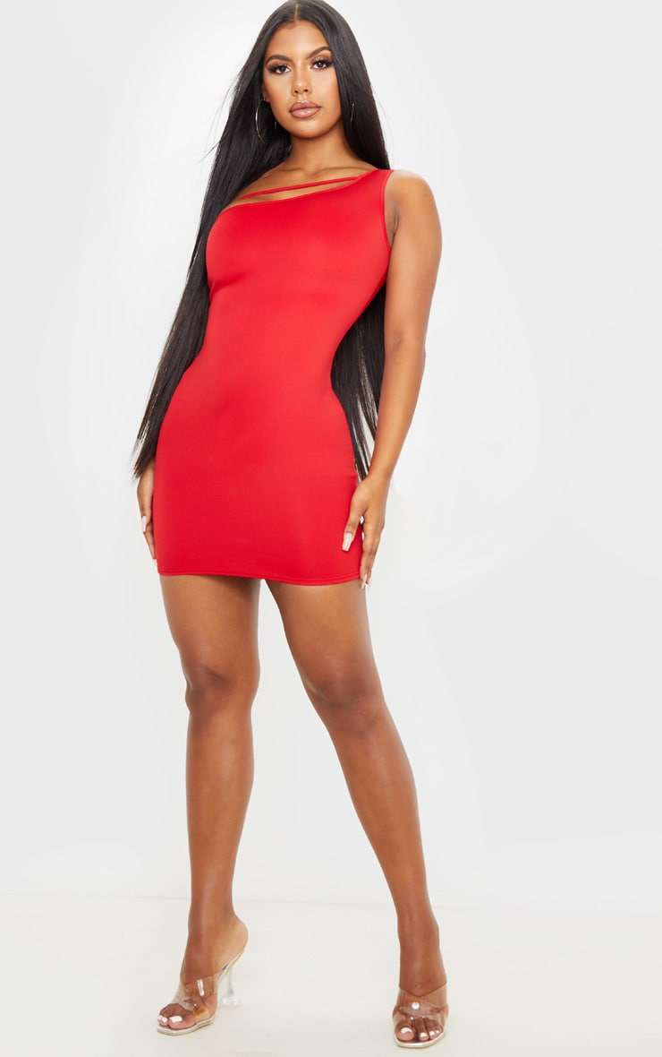 Red One Shoulder Strap Detail Bodycon Dress 4