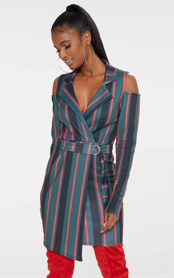 Emerald Green Cold Shoulder Long Sleeve Belt Detail Blazer Dress 1