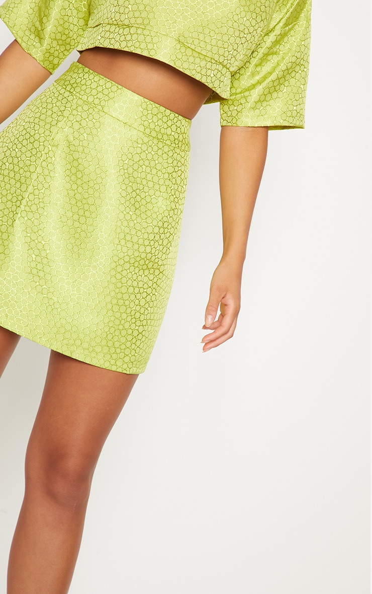 Lime Green Jacquard High Waisted Skirt 7