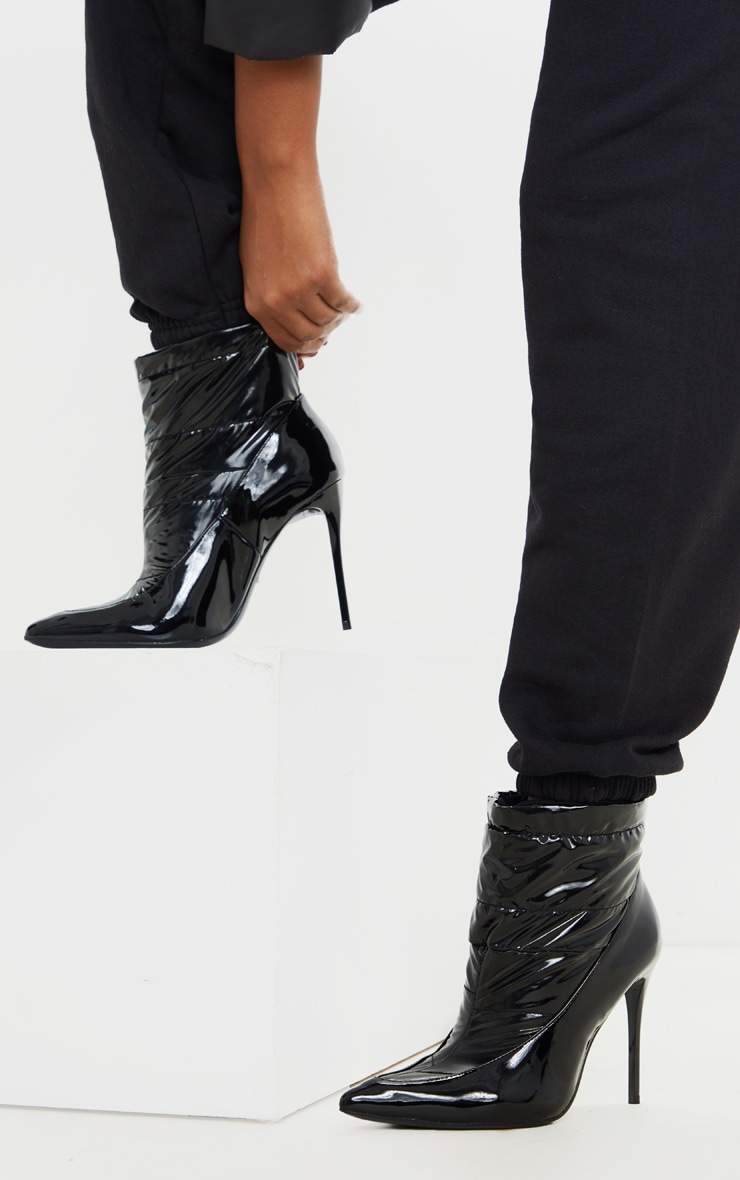 Black Quilted High Shine Ankle Boot 2