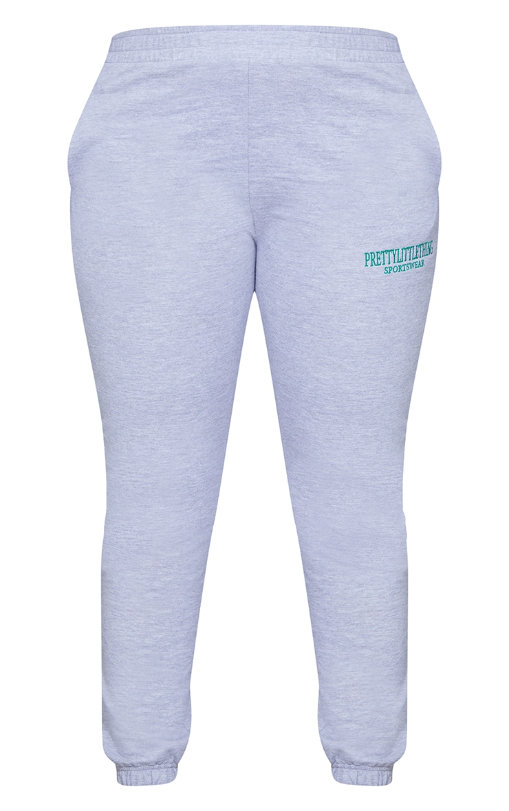 Plus Grey Marl Sports Embroidered Joggers 5