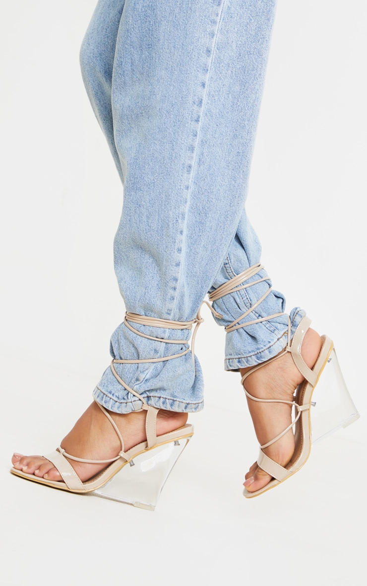 Nude Lace Up Clear Wedges 2