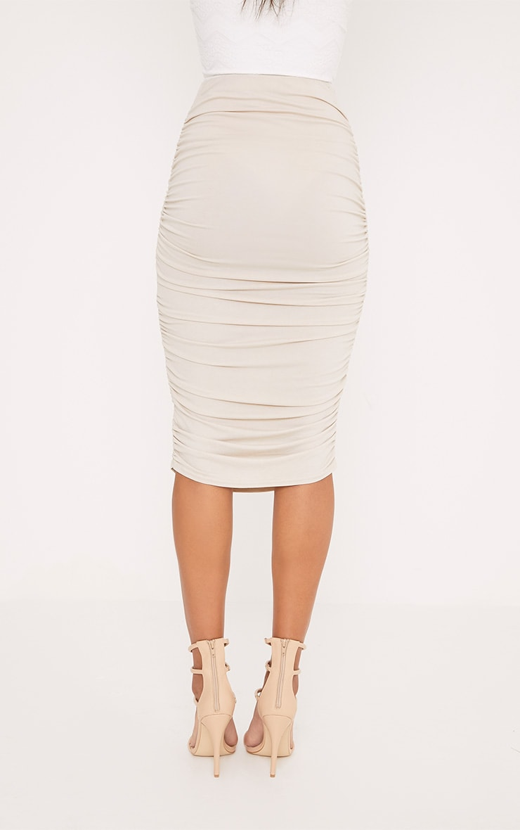 Stone Second Skin Ruched Side Midi Skirt 4