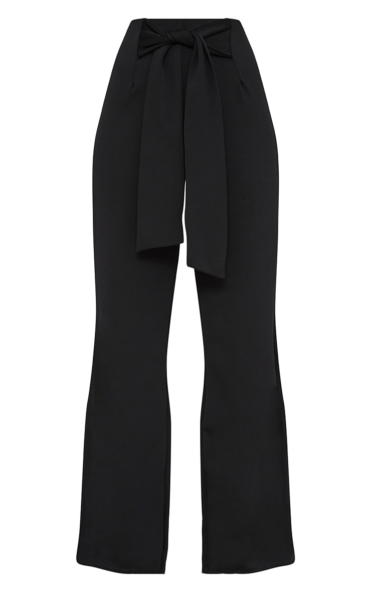 Black Tie Waist Split Leg Wide Leg Trousers 3