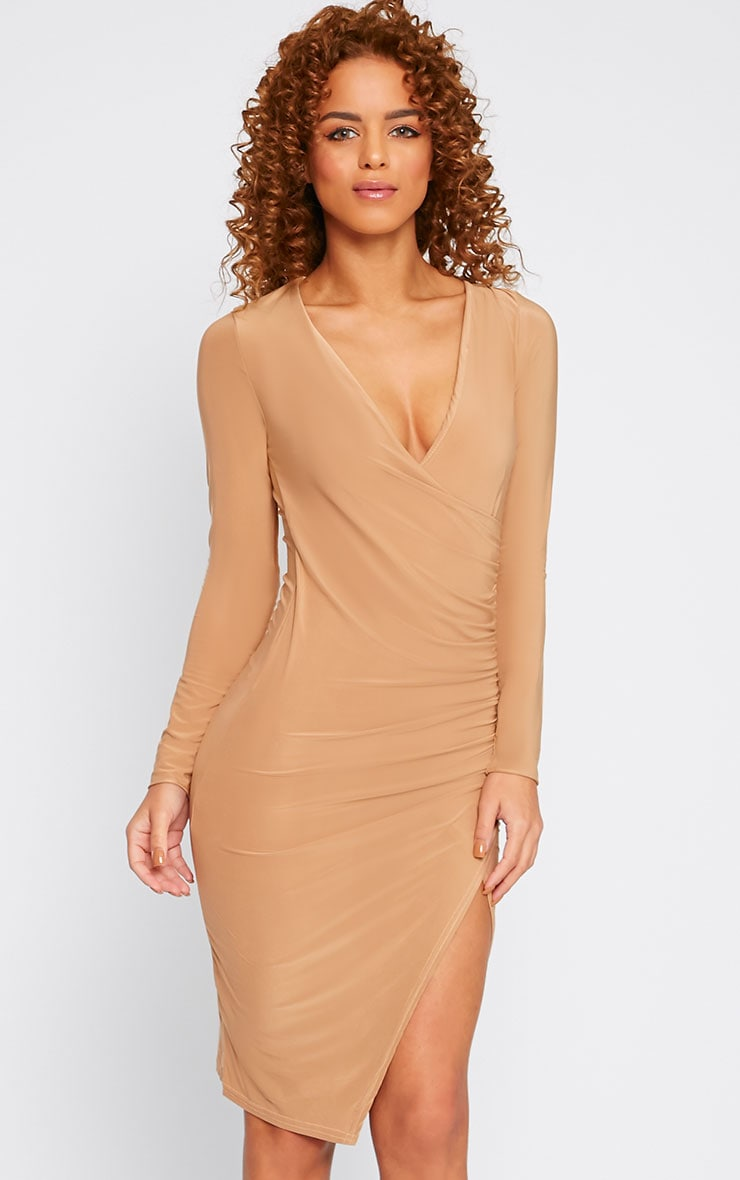 Iona Camel Slinky Wrap Over Gathered Mini Dress 5