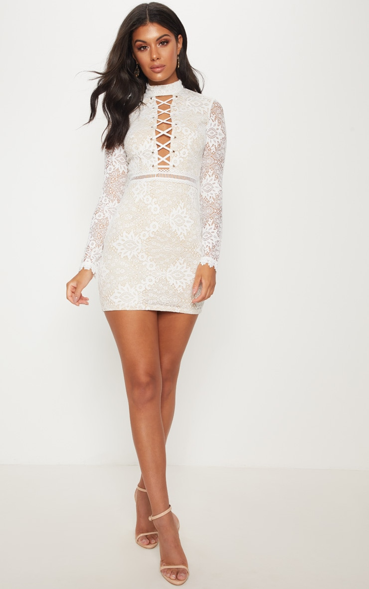 White High Neck Lace Up Bodycon Dress 4