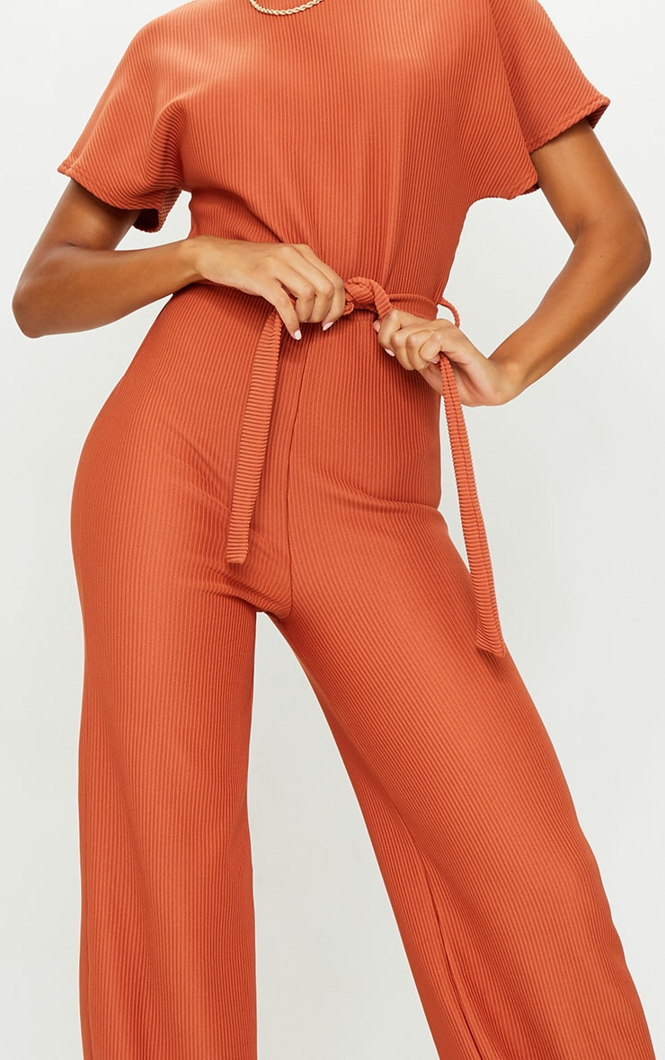 Rust Thick Rib Tie Waist Wide Leg Jumpsuit 4
