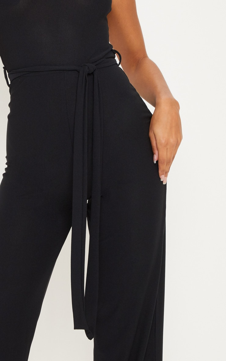 Black One Shoulder Tie Waist Jumpsuit 5