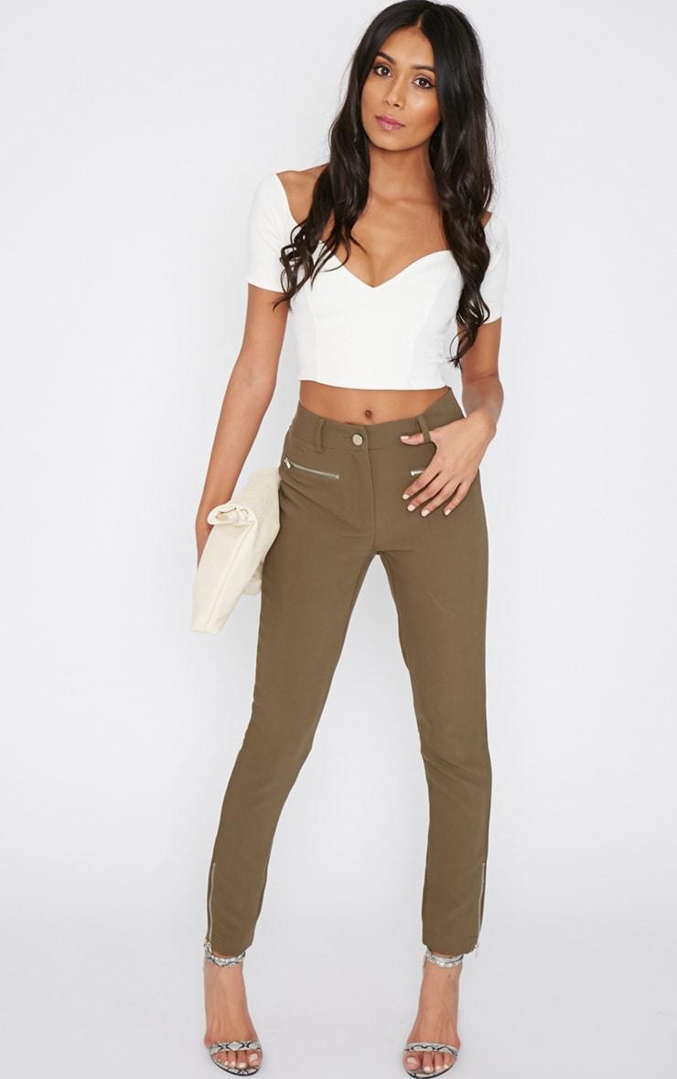 Larisa Khaki Zip Cigarette Trouser  5