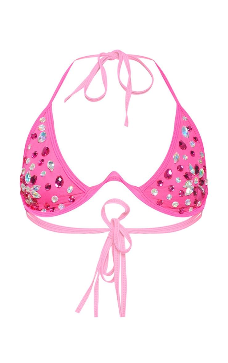 Neon Pink V Wire Jewelled Bikini Top 3