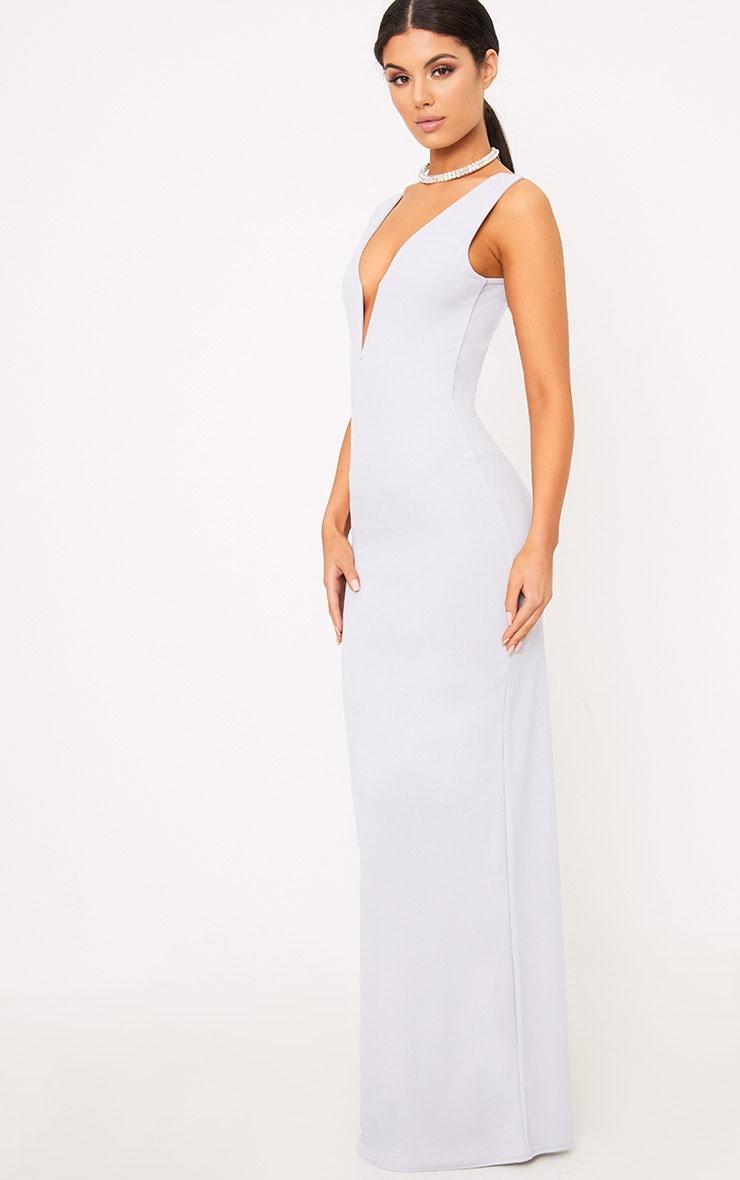 Flossie Ice Grey Plunge Maxi Dress 3