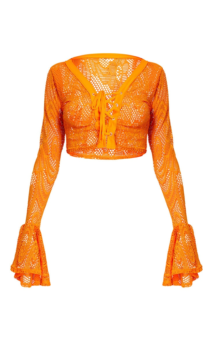 Orange Fishnet Lace Up Flare Sleeve Crop Top  3