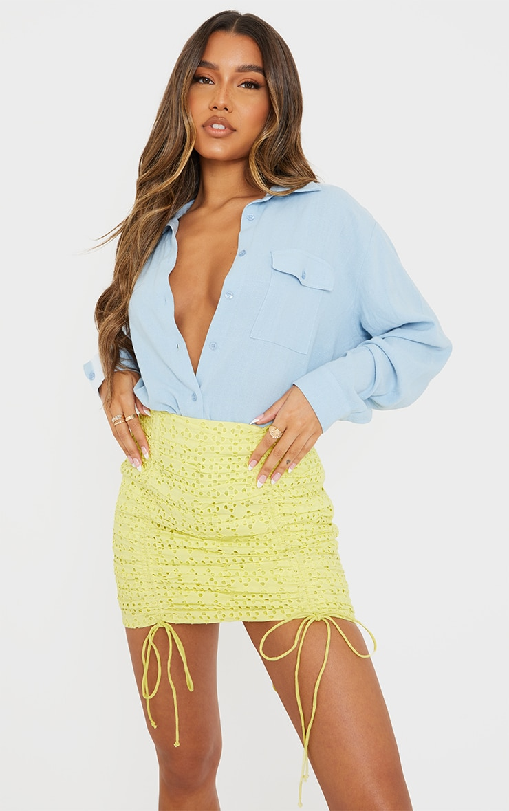 Pale Yellow Broderie Ruched Mini Skirt 4