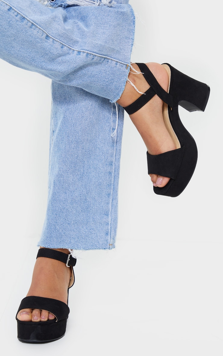Black Faux Suede Platform Block Heel Sandals 2