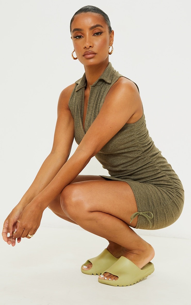 Khaki Brushed Broderie Polo Collar Ruched Bodycon Dress 3