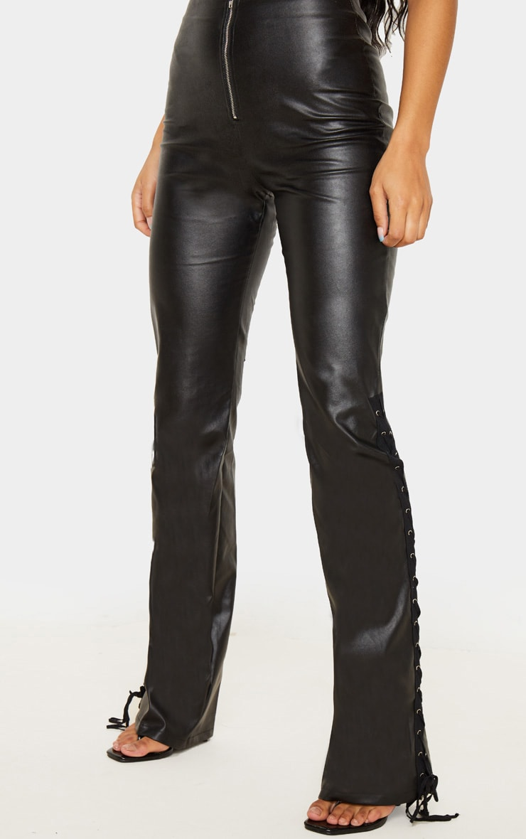 Black Faux Leather Lace Up Detail Flared Pants 2
