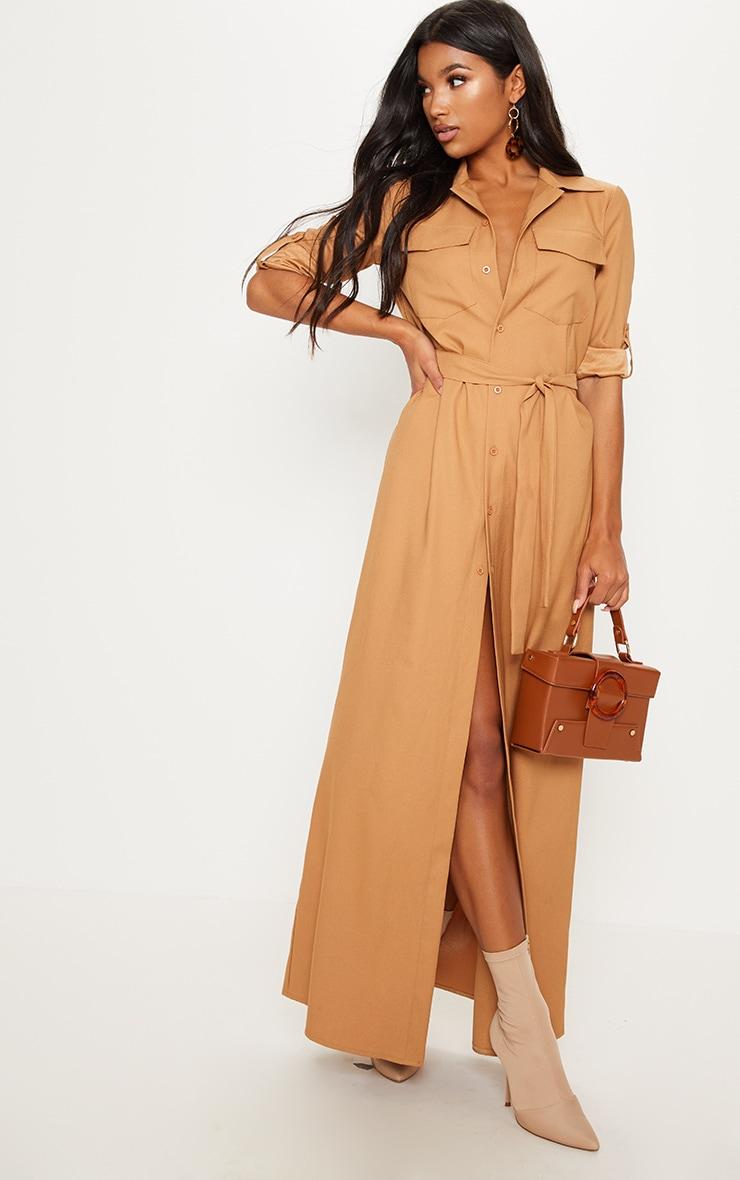 Dark Camel Maxi Shirt Dress 1