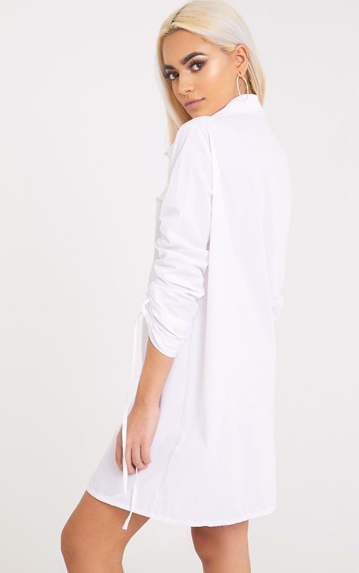 Mandie White Ruched Sleeve Shirt Dress  2