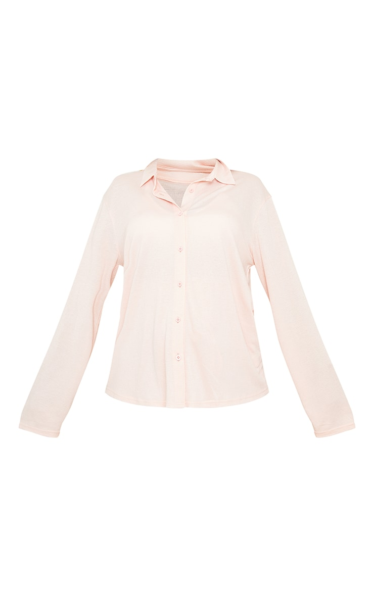 Maternity Pink Crinkle Crepe Oversized Lounge Shirt 5