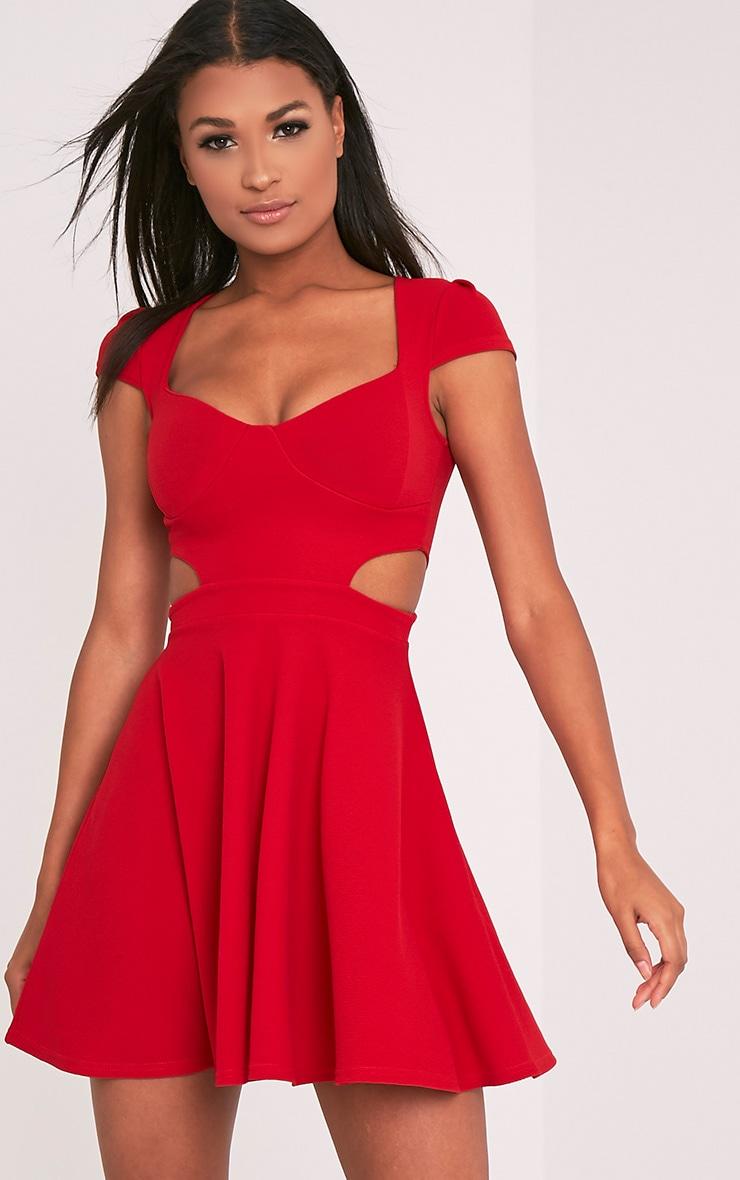 Maddey Red Capped Sleeve Crepe Skater Dress 1