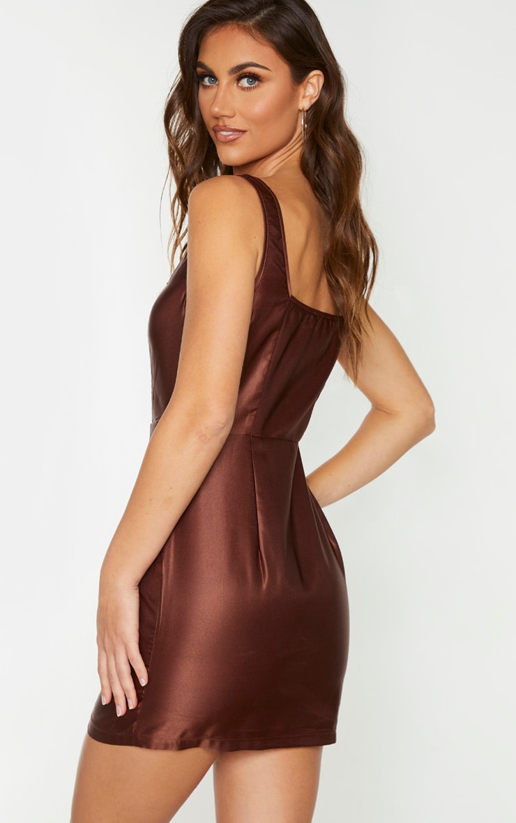 Chocolate Brown Satin Hook & Eye Bodice Sleeveless Bodycon Dress 2