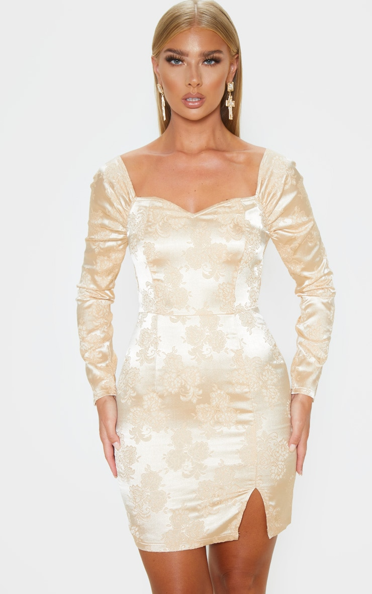 Champagne Jacquard Puff Sleeve Bodycon Dress 1