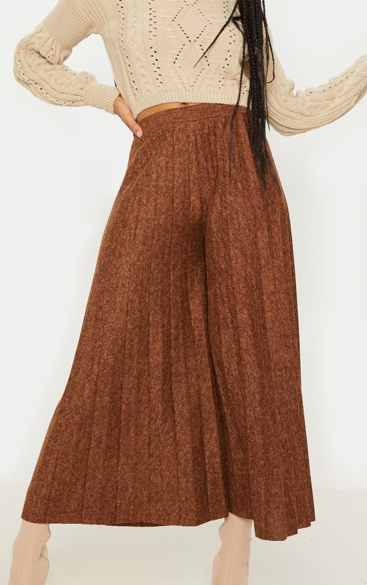 Brown High Waisted Pleated Culotte 5