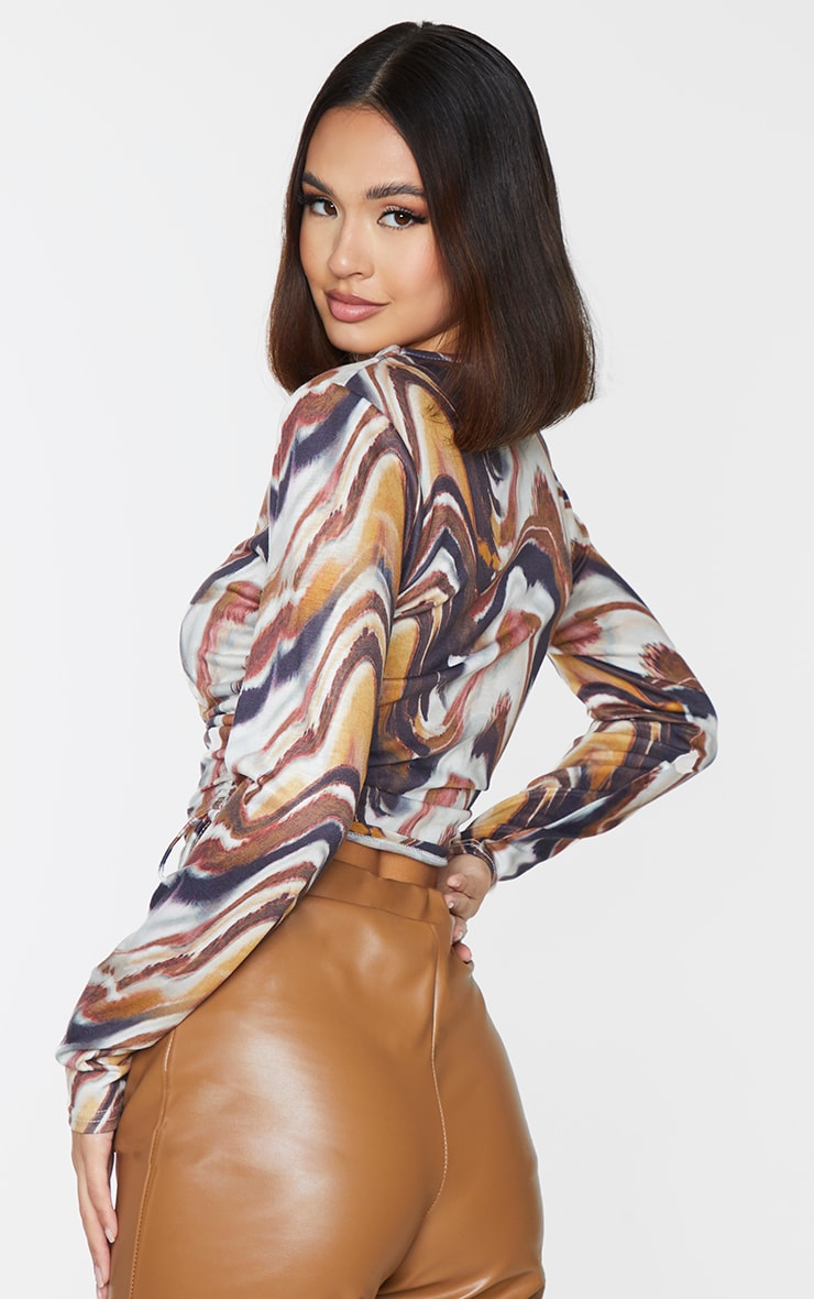 Beige Print Jersey Ruched Side Long Sleeve Crop Top 2