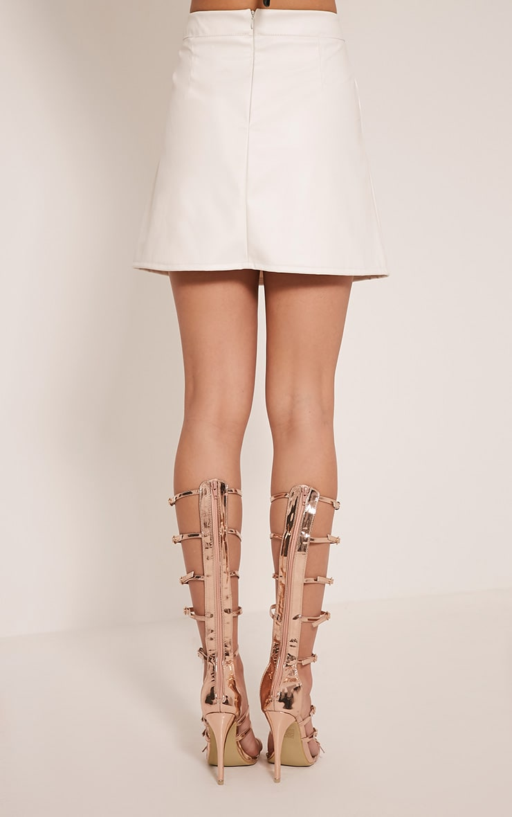 Rose White Faux Leather A-Line Mini Skirt 5