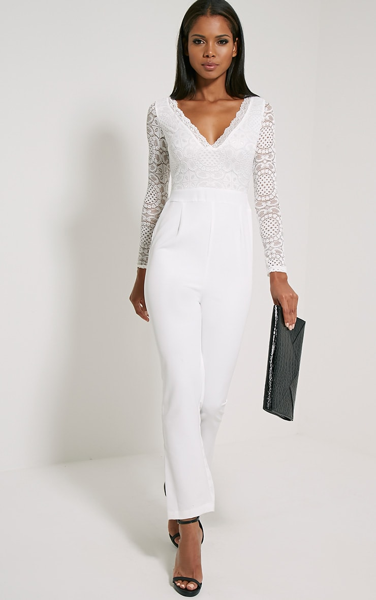 Anissa White Lace Sleeve Jumpsuit 1