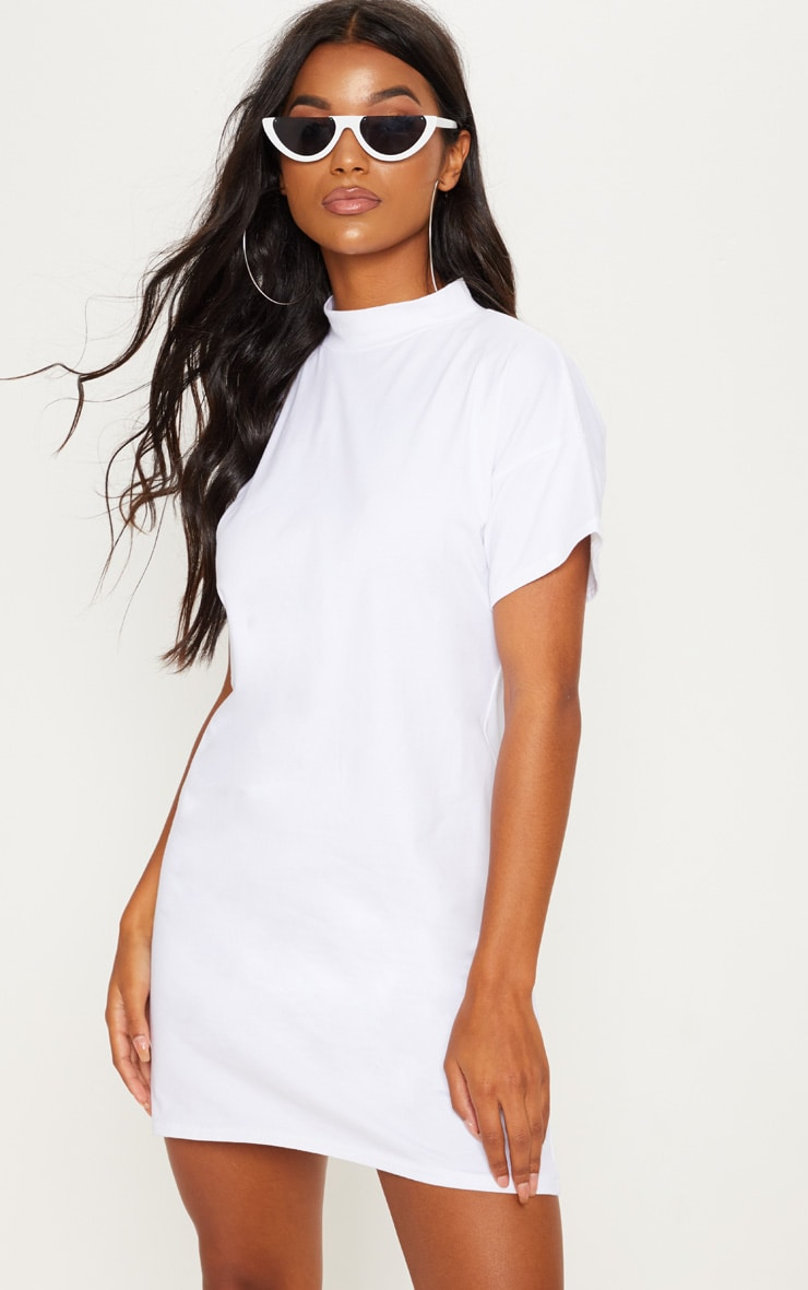 White High Neck Oversized T Shirt Dress 1