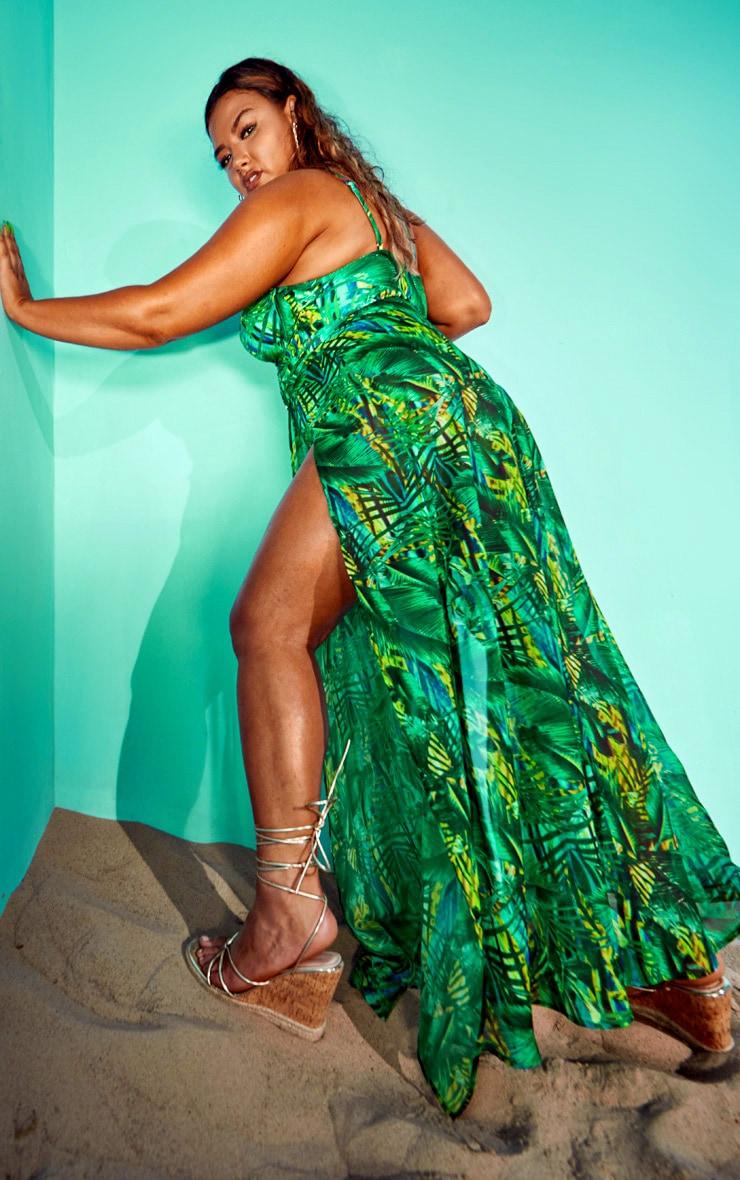 Plus Green Tropical Gold Trim Split Front Beach Skirt 2