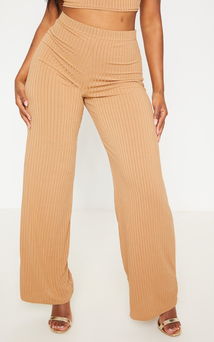 Shape Camel Ribbed Wide Leg Trouser 2